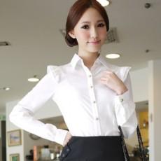 เสื้อเชิ้ต ทำงานแขนยาวแฟชั่นเกาหลียูนิฟอร์มออฟฟิศสวย นำเข้า ไซส์SถึงXL สีขาว - พรีออเดอร์ML3728 ราคา1070บาท