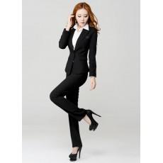 ชุดสูทกางเกง แฟชั่นเกาหลียูนิฟอร์มสูท+กางเกง นำเข้าไซส์Sถึง3XLสีดำ - พรีออเดอร์MS4001 ราคา3500บาท