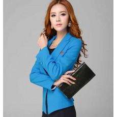 เสื้อสูท แฟชั่นเกาหลีตัดขอบผ้าซาตินสวยหรู นำเข้าไซส์Sถึง3XL สีฟ้า - พรีออเดอร์MS4002 ราคา1450บาท
