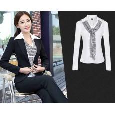 เสื้อสูทพร้อมเสื้อเชิ้ต แฟชั่นเกาหลียูนิฟอร์มชุดพนักงาน2ชิ้น นำเข้าไซส์Sถึง3XL สีดำ - พรีออเดอร์MS4003 ราคา2850บาท