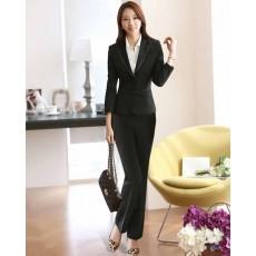ชุดสูทกางเกง แฟชั่นเกาหลีเสื้อสูท+กางเกงชุดสวยใหม่ นำเข้าไซส์Sถึง3XLสีดำ - พรีออเดอร์MS4010 ราคา2900บาท