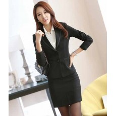 ชุดสูทกระโปรง แฟชั่นเกาหลีเสื้อสูท+กระโปรงชุดสวยใหม่ นำเข้าไซส์Sถึง3XLสีดำ - พรีออเดอร์MS4010 ราคา2900บาท