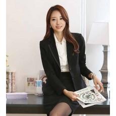 เสื้อสูท แฟชั่นเกาหลีจับจีบหลังสวยหรูแบบใหม่ นำเข้าไซส์Sถึง3XLสีดำ - พรีออเดอร์MS4010 ราคา1600บาท