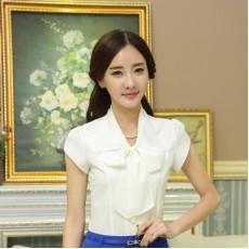 เสื้อเชิ้ตชีฟอง แฟชั่นเกาหลีแขนสั้นระบายสวย นำเข้าไซส์Sถึง3XL สีขาว - พรีออเดอร์MS4012 ราคา1200บาท