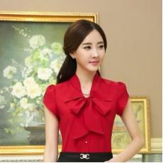 เสื้อเชิ้ตชีฟอง แฟชั่นเกาหลีแขนสั้นระบายสวย นำเข้าไซส์Sถึง3XL สีแดง - พรีออเดอร์MS4012 ราคา1200บาท