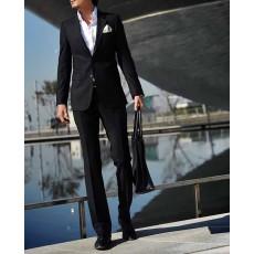 ชุดสูทผู้ชาย เป็นเสื้อสูทพร้อมกางเกงแฟชั่น นำเข้า ไซส์S-2XL สีดำ - พรีออเดอร์MS4020  ราคา4240บาท