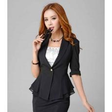 เสื้อสูท แฟชั่นเกาหลีระบายชีฟองช่วงเอวสวยหรู นำเข้าไซส์Sถึง3XL สีดำ - พรีออเดอร์MS4023 ราคา1550บาท