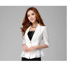 เสื้อสูท แฟชั่นเกาหลีระบายชีฟองช่วงเอวสวยหรู นำเข้าไซส์Sถึง3XL สีขาว - พรีออเดอร์MS4023 ราคา1550บาท