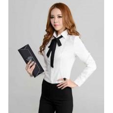 เสื้อเชิ้ต แฟชั่นเกาหลีแขนยาวตีเกล็ดสวยใหม่ นำเข้าไซส์Sถึง3XL สีขาว - พรีออเดอร์MS4024 ราคา1200บาท