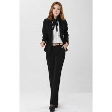 ชุดสูทกางเกง แฟชั่นเกาหลีเสื้อสูท+กางเกง นำเข้าไซส์Sถึง3XLสีดำ - พรีออเดอร์MS4033 ราคา2990บาท