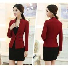เสื้อสูทผู้หญิง แฟชั่นเกาหลีแขนยาวทรงสวยใหม่ นำเข้าไซส์Sถึง3XLสีแดง - พรีออเดอร์MS4036 ราคา1600บาท