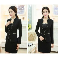 เสื้อสูทผู้หญิง แฟชั่นเกาหลีแขนยาวทรงสวยใหม่ นำเข้าไซส์Sถึง3XLสีดำ - พรีออเดอร์MS4036 ราคา1600บาท