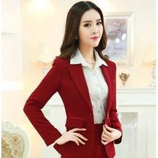 เสื้อสูทผู้หญิง แฟชั่นเกาหลีแขนยาวทรงสวยสูทยาวถึงสะโพก นำเข้าไซส์Sถึง3XL สีแดง - พรีออเดอร์MS4245 ราคา1600บาท
