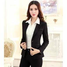 เสื้อสูทผู้หญิง แฟชั่นเกาหลีแขนยาวทรงสวยสูทยาวถึงสะโพก นำเข้าไซส์Sถึง3XL สีดำ - พรีออเดอร์MS4245 ราคา1600บาท