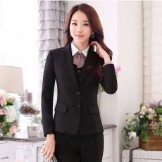 เสื้อสูทผู้หญิง แฟชั่นเกาหลีแขนยาวพนักงานออฟฟิศหญิงเรียบหรู นำเข้าไซส์Sถึง3XL สีดำ - พรีออเดอร์MS4246 ราคา1950บาท