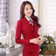 เสื้อสูทผู้หญิง แฟชั่นเกาหลีแขนยาวพนักงานออฟฟิศหญิงเรียบหรู นำเข้าไซส์Sถึง3XL สีแดง - พรีออเดอร์MS4246 ราคา1950บาท