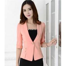 เสื้อสูทผู้หญิง แฟชั่นเกาหลีแขนสั้นถึงข้อศอกแบบใหม่สวยเข้าทรง นำเข้าไซส์Sถึง3XL สีชมพู - พรีออเดอร์MS4248 ราคา1700บาท