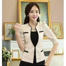 เสื้อสูทผู้หญิง แฟชั่นเกาหลีสวมทำงานไหล่จับจีบสวยหรูใหม่ นำเข้าไซส์Sถึง4XL สีครีม - พรีออเดอร์MS4249 ราคา1850บาท