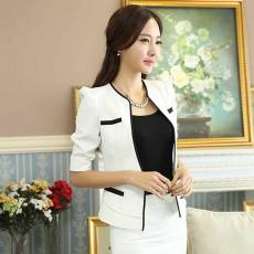 เสื้อสูทผู้หญิง แฟชั่นเกาหลีสวมทำงานไหล่จับจีบสวยหรูใหม่ นำเข้าไซส์XL สีขาว - พร้อมส่งMS4249 ราคา1850บาท