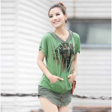เสื้อยืด แฟชั่นเกาหลีมีฮู้ดสวยมากใส่สบาย นำเข้า สีเขียว - พร้อมส่งTX2232 ราคา750บาท [หมดค่ะ]