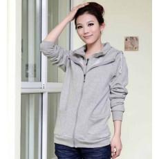 เสื้อกันหนาว ซิปหน้าแฟชั่นเกาหลีผ้าหนาอุ่นมาก นำเข้า ฟรีไซส์ สีเทา - พร้อมส่งTX5042 ราคา850บาท [หมดค่ะ]