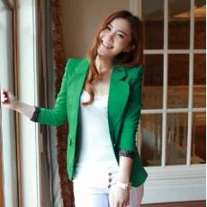 เสื้อสูท แฟชั่นเกาหลีผู้หญิงใส่คลุมทำงานสวยใหม่ นำเข้า สีเขียว - พร้อมส่งTJ7151 ราคา1250บาท