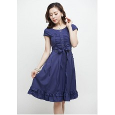 ชุดแซก ผ้าคอตตอนผสมใส่สบายทรงสวยเอวผูกโบว์น่ารัก นำเข้า สีน้ำเงิน - พร้อมส่งTJ7213 ราคา1150บาท