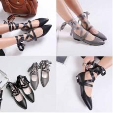 รองเท้าบัลเล่ต์ส้นเตี้ยผูกขาหัวแหลมแฟชั่นเกาหลีใหม่ ไซส์32-43 นำเข้า พรีออเดอร์BS0124 ราคา2100บาท