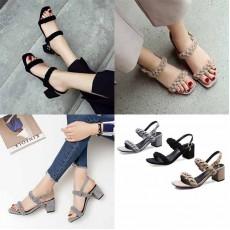 รองเท้าส้นสูงหนังกลับแบบถักแฟชั่นเกาหลีโชว์เท้ารัดส้นออกงานหรู ไซส์32-43 นำเข้า พรีออเดอร์BS0125 ราคา1950บาท