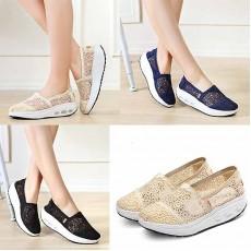 รองเท้าผ้าใบลูกไม้ส้นหนาเพื่อสุขภาพแฟชั่นเกาหลี ไซส์34-40 นำเข้า พรีออเดอร์BS0127 ราคา1250บาท