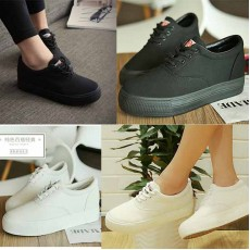 รองเท้าผ้าใบส้นหนาสีล้วนแฟชั่นเกาหลีรุ่นใหม่ล่าสุด ไซส์35-39 นำเข้า พรีออเดอร์BS0130 ราคา1400บาท