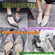 รองเท้าส้นสูงออกงานแฟชั่นเกาหลีคริสตัลหรูรัดข้อสายคู่ ไซส์32-43 นำเข้า พรีออเดอร์BS0132 ราคา2200บาท