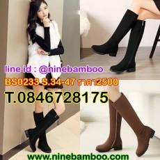 รองเท้าบูทยาวกันหนาวส้นเตี้ยแฟชั่นเกาหลีหนังกลับมีซิปข้างสวมใส่ง่าย ไซส์34-43 นำเข้า พรีออเดอร์BS0233 ราคา2500บาท