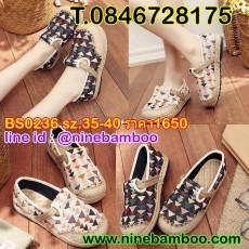 รองเท้าเพื่อสุขภาพแฟชั่นเกาหลีหุ้มส้นลายสามเหลี่ยมผ้าลินินทอมือนุ่มสบาย ไซส์35-40 นำเข้า พรีออเดอร์BS0236 ราคา1650บาท