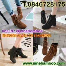 รองเท้าบูทสั้นกันหนาวมีส้นแฟชั่นเกาหลีหนังกลับผูกเชือกสวย ไซส์34-43 นำเข้า พรีออเดอร์BS0258 ราคา2500บาท