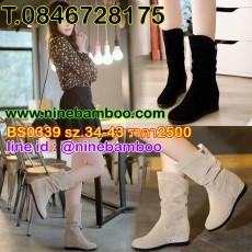 รองเท้าบูทสั้นกันหนาวส้นเตี้ยแฟชั่นเกาหลีหนังกลับครึ่งขาใหม่ ไซส์34-43 นำเข้า พรีออเดอร์BS0339 ราคา2500บาท