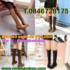รองเท้าบูทยาวกันหนาวหัวเข่าส้นเตี้ยแฟชั่นเกาหลีหนังวินเทจใหม่สวย ไซส์34-39 นำเข้า พรีออเดอร์BS0363 ราคา2500บาท