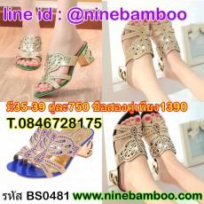 รองเท้าส้นสูงประดับคริสตัลแฟชั่นเกาหลีออกงาน นำเข้าไซส์35-39 พรีออเดอร์BS0481