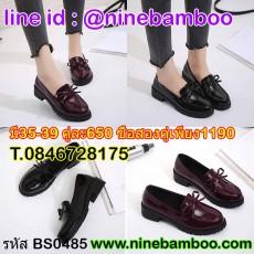 รองเท้าผ้าใบหนังแฟชั่นเกาหลีสไตล์ประดับโบว์ลำลอง ไซส์35-39 นำเข้า พรีออเดอร์BS0485