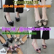รองเท้าหนังกลับส้นแบนเพื่อสุขภาพประดับโบว์สไตล์คัทชู ไซส์35-40 นำเข้า พรีออเดอร์BS0487