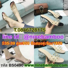 รองเท้าแก้วส้นสูงประดับมุกคริสตัลแฟชั่นเกาหลีออกงาน นำเข้าไซส์35-39 พรีออเดอร์BS0490