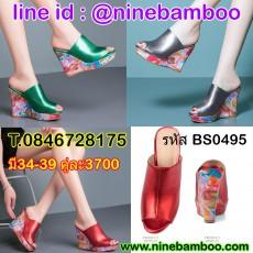 รองเท้าแตะส้นเตารีดหนังแท้ลายดอกไม้แฟชั่นเกาหลีออกงานสวยหรู ไซส์34-39 นำเข้า พรีออเดอร์BS0495