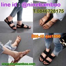 รองเท้าแตะรัดส้นเตี้ยหนังแท้เพื่อสุขภาพแฟชั่นเกาหลี ไซส์36-43 นำเข้า พรีออเดอร์BS0496 ราคา1650บาท