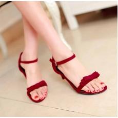 รองเท้าส้นสูง แฟชั่นเกาหลีส้นแหลม นำเข้า ไซส์34ถึง43 สีแดง - พรีออเดอร์RB2000 ราคา1250บาท