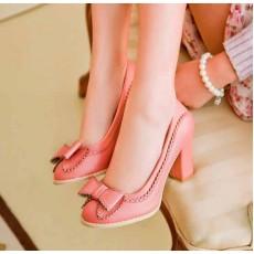 รองเท้าส้นสูง แฟชั่นเกาหลีแต่งโบว์สวย นำเข้า ไซส์34ถึง43 สีชมพู - พรีออเดอร์RB2003 ราคา1350บาท