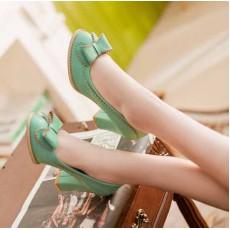 รองเท้าส้นสูง แฟชั่นเกาหลีแต่งโบว์สวย นำเข้า ไซส์34ถึง43 สีเขียว - พรีออเดอร์RB2003 ราคา1350บาท