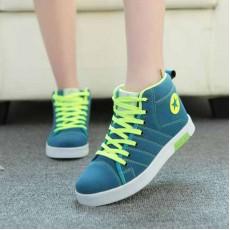 รองเท้าผ้าใบ แฟชั่นเกาหลีหุ้มข้อสไตล์แบรนด์ นำเข้า ไซส์36ถึง40 สีฟ้า - พรีออเดอร์RB2008 ราคา1350บาท