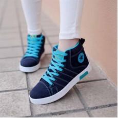 รองเท้าผ้าใบ แฟชั่นเกาหลีหุ้มข้อสไตล์แบรนด์ นำเข้า ไซส์36ถึง40 สีน้ำเงิน - พรีออเดอร์RB2008 ราคา1350บาท