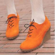 รองเท้าส้นตึก แฟชั่นเกาหลีสวยแบบคัทชู นำเข้า ไซส์34ถึง39 สีส้ม - พรีออเดอร์RB2009 ราคา1150บาท