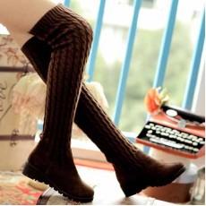 รองเท้าบูท แฟชั่นเกาหลีบูทยาวถักนิตติ้ง นำเข้า ไซส์34ถึง40 สีน้ำตาล - พรีออเดอร์RB2012 ราคา1750บาท